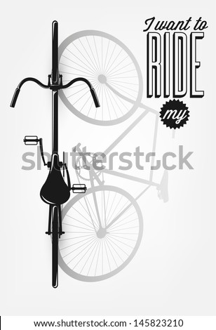 Typographical Illustration Bicycle Poster - stock vector