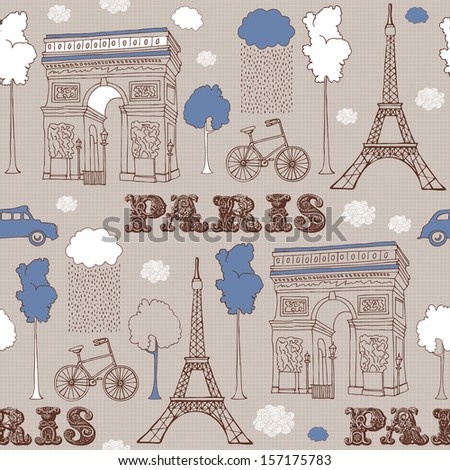 Typographical Retro Style Poster With Paris Symbols.