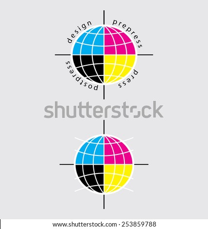 typographical sign is presented in the form of the globe, can be used as a symbol to illustrate the idea: typography world scale - stock vector