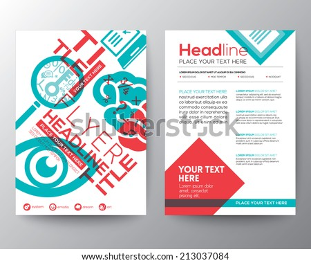 Typography Brochure Flyer design Layout vector template in A4 size with education concept - stock vector