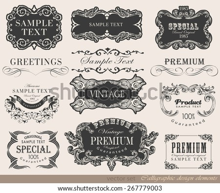 typography, calligraphic design elements, page decoration