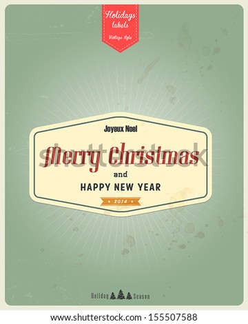Typography Christmas Greeting Card. Vector - stock vector