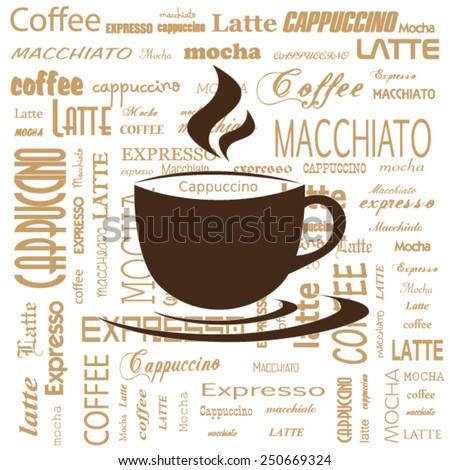 typography coffee - stock vector