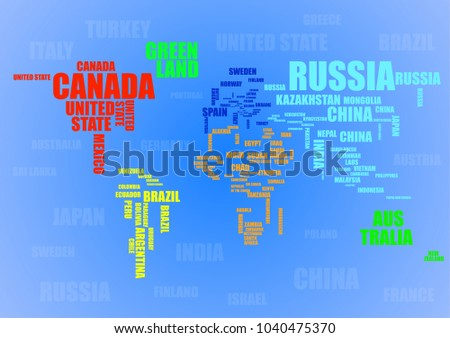 Typography colorful world map country names stock vector 1040475370 typography colorful world map with country names vector gumiabroncs Image collections