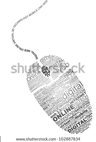 Typography concept of technology and the digital world - stock vector