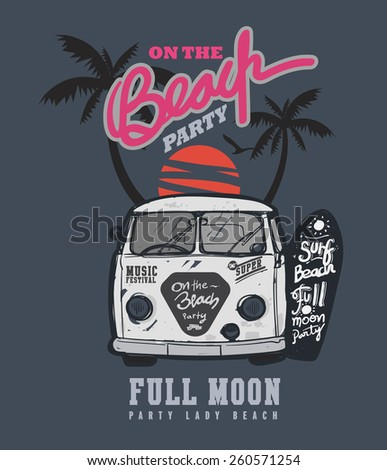 typography design full moon party poster and tshirt music - stock vector