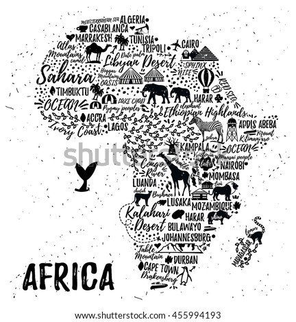 Typography Poster Africa Map Africa Travel Stock Vector 455994193