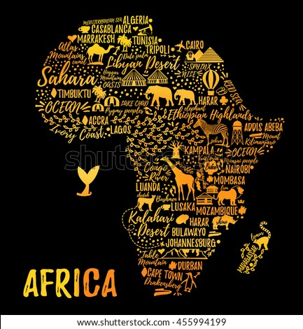Typography Poster Africa Map Africa Travel Stock Vector 455994199