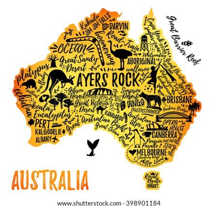 Typography poster. Australia map. Australia travel guide. - stock vector