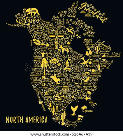 Typography Poster North America Map North Stock Vector (Royalty Free ...