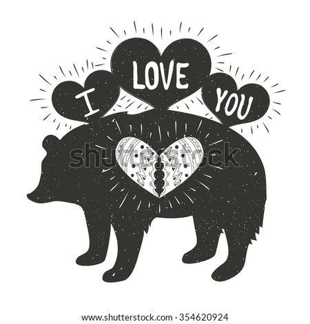 Typography poster with silhouette of bear, hearts. I love you. Valentine's day hand lettering vector illustration. Romantic greeting card design with rays, save the date card, vintage style - stock vector