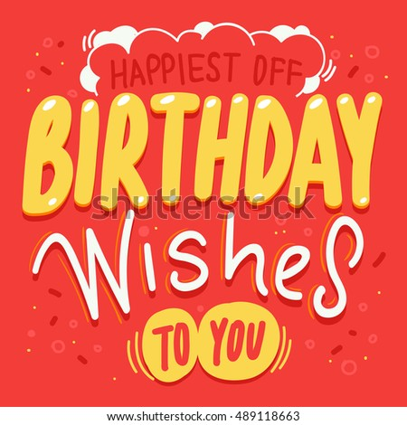 Typography Sketches Your Greeting Birthday Card Stock Vector