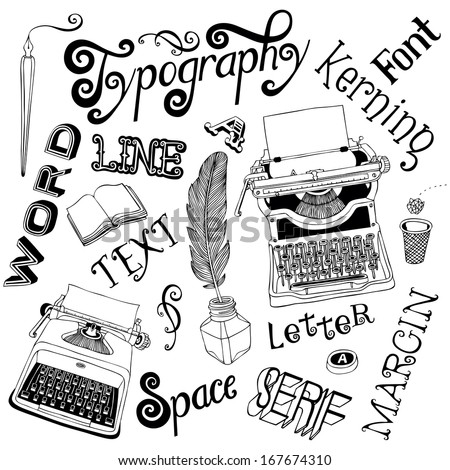 Typography Vector Doodles - stock vector