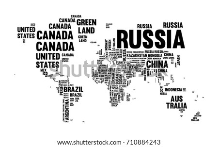 Typography world map made every country vectores en stock 710884243 typography world map made of every country name in black and white concept text atlas gumiabroncs Choice Image
