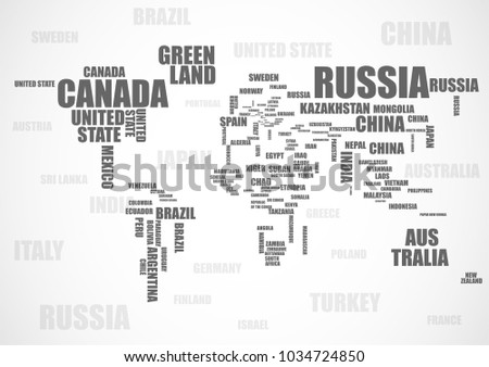 Typography world map made names countries vectores en stock typography world map made of names countries vector gumiabroncs Choice Image