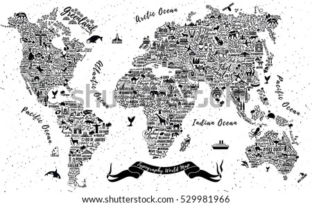 Typography world map travel poster cities vector de stock529981966 typography world map travel poster with cities and sightseeing attractions inspirational vector illustration gumiabroncs Image collections