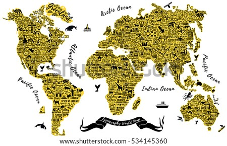 Typography world map travel typography poster stock vector typography world map travel typography poster with cities and sightseeing attractions inspirational vector typography gumiabroncs Gallery