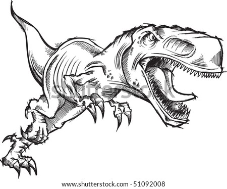 Tyrannosaurus Dinosaur Sketch Doodle Vector Illustration - stock vector