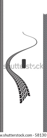 Tyre tracks, straight and disappearing - stock vector