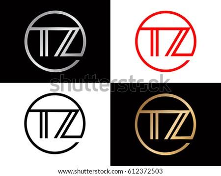 Tz Text Red Gold Black Silver Modern Creative Alphabet Letter Logo Design Vector Icon