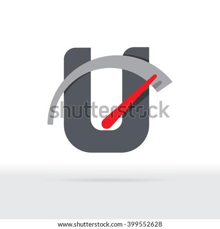 U Letter Car Speedometer, B Letter Meter Logo - stock vector