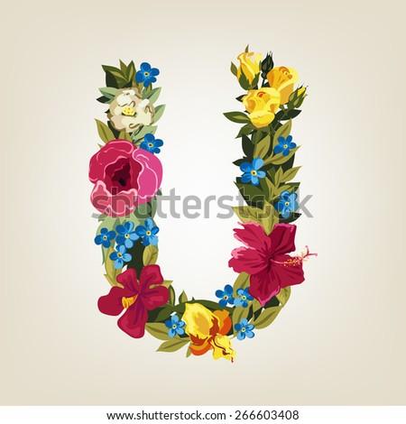 U letter. Flower capital alphabet. Colorful font. Uppercase.  Vector illustration. - stock vector