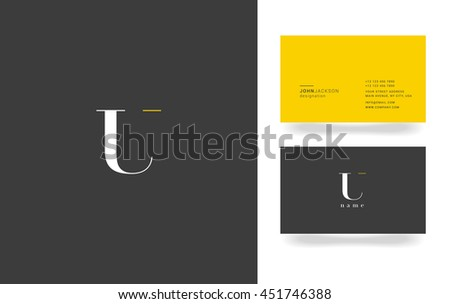U Letter Logo, Icon, with Business Card Template Vector