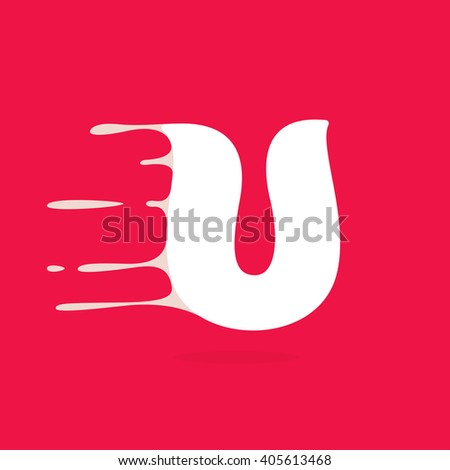 U letter logo made of milk. Vector design template elements for your poster or corporate identity. - stock vector