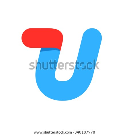 U letter with fast speed line. Design template elements for your application or corporate identity. - stock vector