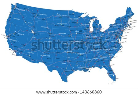 U.S.A. road map - stock vector