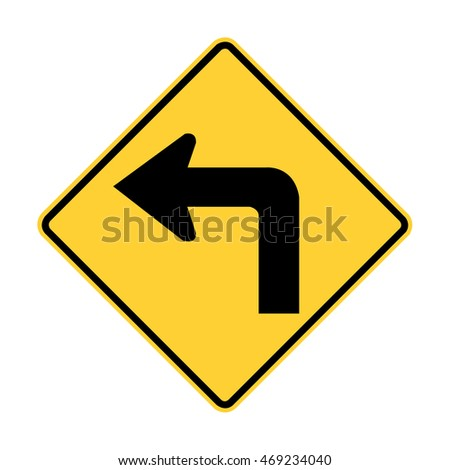 U.S. and Canada warning sign:Left curve ahead