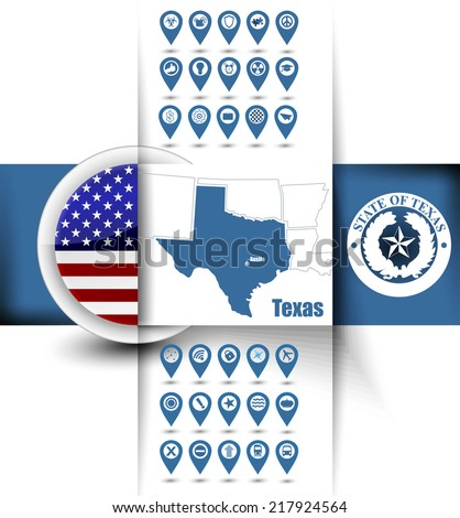 U.S. state of Texas map contours with GPS icons, USA flag icon and state emblem - stock vector
