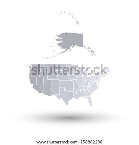 U.S. states map of north america vector - stock vector