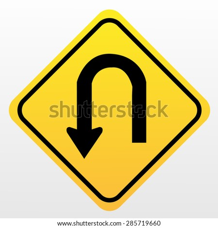 U-Turn Roadsign - stock vector