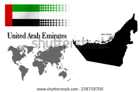 UAE info graphic with flag , location in world map, Map and the capital ,Abu dhabi, location.(EPS10 Separate part by part) - stock vector
