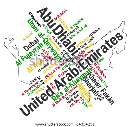 UAE map and words cloud with larger cities