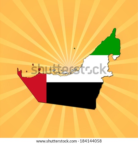 UAE map flag on sunburst vector illustration - stock vector