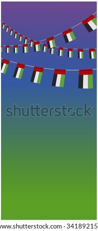 UAE national day background. Vector design of flag hanging banner. - stock vector