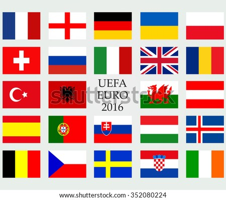 UEFA EURO 2016 member countries vector flags. The flags of members of European championship 2016. - stock vector