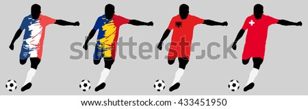 UEFA Euro 2016 vector illustration of football player run hit ball. Group A participants. Vector set of football players in european countries flags uniform original colors.Flat style design. Clip art - stock vector