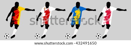 UEFA Euro 2016 vector illustration of football player run hit ball. Group C participants. Vector set of football players in european countries flags uniform original colors.Flat style design. Clip art - stock vector