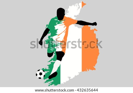 UEFA Euro 2016 vector illustration of football player run hit ball. Group E participant. Soccer team player in uniform with state national flag of Republic of Ireland original colors. Ireland map - stock vector