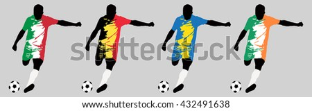 UEFA Euro 2016 vector illustration of football player run hit ball. Group E participants. Vector set of football players in european countries flags uniform original colors.Flat style design. Clip art - stock vector