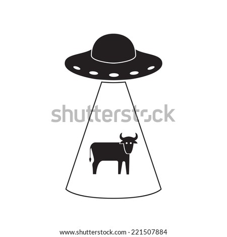 UFO abducts a cow. Vector logo isolated on white background. - stock vector