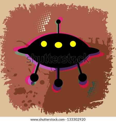 UFO abstract background, vector illustration - stock vector