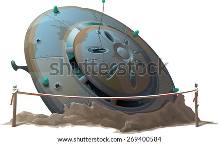 UFO crashed into the ground - stock vector