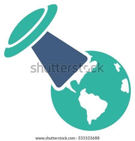 Ufo Explores Earth vector icon. Style is bicolor flat symbol, cobalt and cyan colors, rounded angles, white background. - stock vector