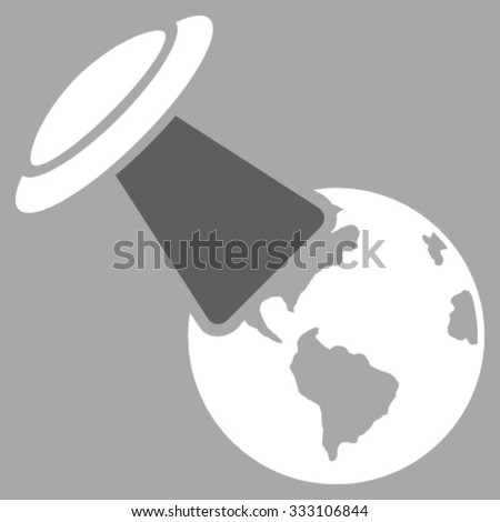 Ufo Explores Earth vector icon. Style is bicolor flat symbol, dark gray and white colors, rounded angles, silver background. - stock vector