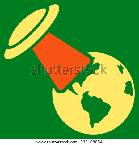 Ufo Explores Earth vector icon. Style is bicolor flat symbol, orange and yellow colors, rounded angles, green background. - stock vector