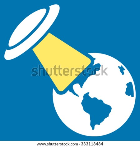 Ufo Explores Earth vector icon. Style is bicolor flat symbol, yellow and white colors, rounded angles, blue background. - stock vector